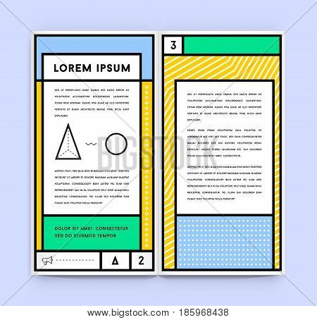 Visual identity in Trendy New Fat Line Style Geometric Design in Retro Style with Fresh Old School Colours with Fictitious names and text
