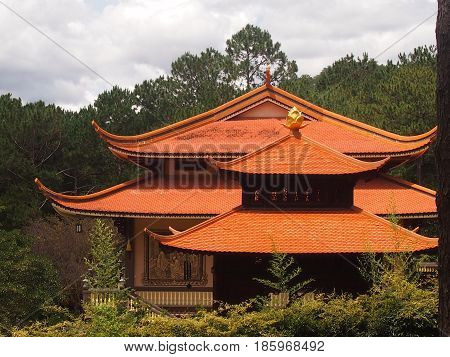 Red peaked roofs of the Buddhist temple
