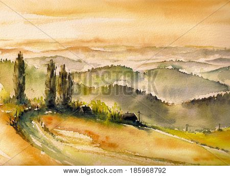 Landscape with vineyards at sunset in South Styria watercolors painted.