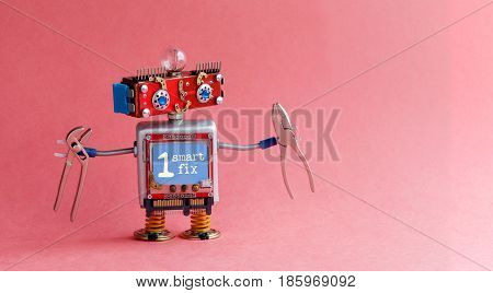 Robotic handyman electrician red head, blue monitor body, light bulb, pliers. Smart fix message on display. Cute toy character cyberpunk machinery style. Pink background, copy space for your text