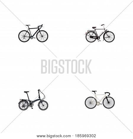 Realistic Folding Sport-Cycle, Road Velocity, Cyclocross Drive And Other Vector Elements. Set Of Bike Realistic Symbols Also Includes Dutch, Folding, Cyclocross Objects.