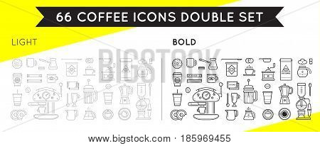 Set of Thin and Bold Vector Coffee Elements