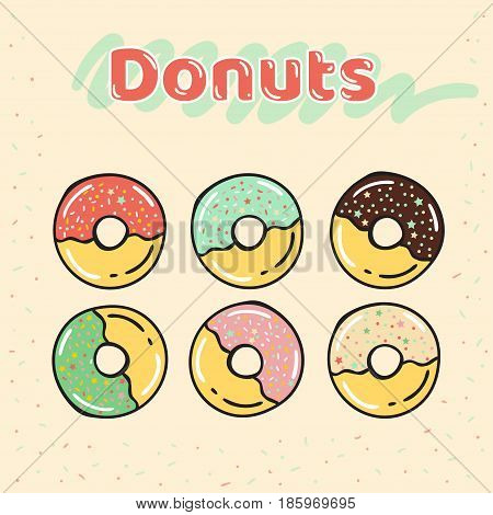 Colorful set of half-glazed donuts with caramel and sweets. Donuts vector set isolated on a beige background in a modern flat style. Vector illustration