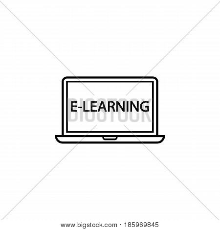E-learning line icon, Education and school element, laptop and online education vector graphics, a linear pattern on a white background, eps 10.