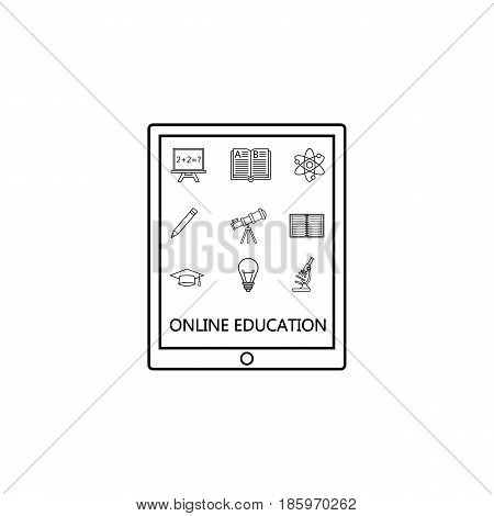 Online education line pictograms package, E-learning symbols collection, Web mobile services vector sketches, Tablet with apps logo illustrations, linear icons isolated on white background.