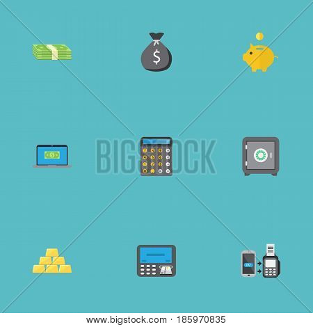 Flat Remote Paying, Money Box, Atm And Other Vector Elements. Set Of Finance Flat Symbols Also Includes Notebook, Payment, Piggy Objects.