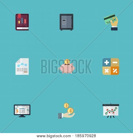 Flat Profit, Safe, Accounting System And Other Vector Elements. Set Of Accounting Flat Symbols Also Includes Sheet, Report, Moneybox Objects.