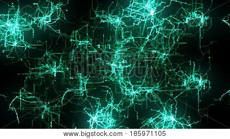 Green Lines Drawn By Bright Spots