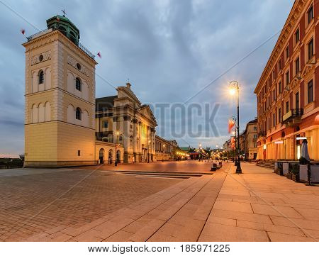 Center of the old town in Warsaw Poland Europe in the morning.