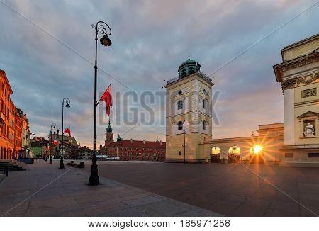 Castle square in the sunrise. Warsaw Poland Europe