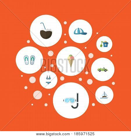 Flat Sorbet, Sailboard, Shovel And Other Vector Elements. Set Of Summer Flat Symbols Also Includes Ship, Diving, Car Objects.