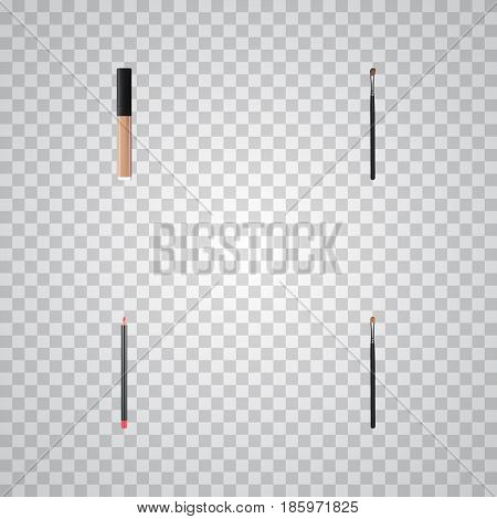 Realistic Eye Paintbrush, Cover, Brow Makeup Tool And Other Vector Elements. Set Of Cosmetics Realistic Symbols Also Includes Cosmetics, Brush, Pencil Objects.