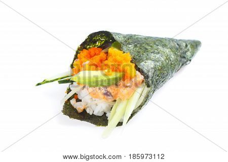 Hand Roll With Tune, Ginger Sauce, Flying Fish Roe, Avocado And Cucumber
