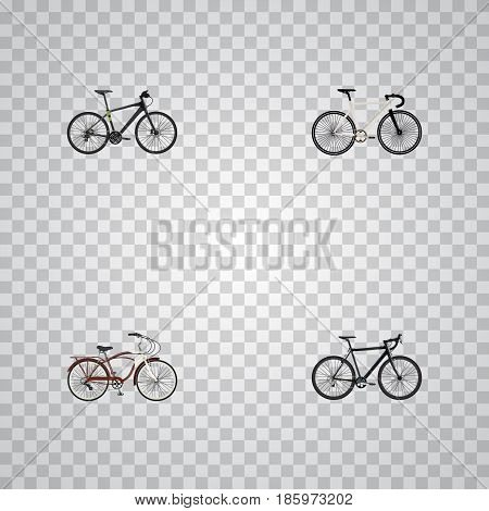 Realistic Cyclocross Drive, Hybrid Velocipede, Journey Bike And Other Vector Elements. Set Of Lifestyle Realistic Symbols Also Includes Cyclocross, Training, Bicycle Objects.