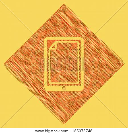 Protective sticker on the screen. Vector. Red scribble icon obtained as a result of subtraction rhomb and path. Royal yellow background.