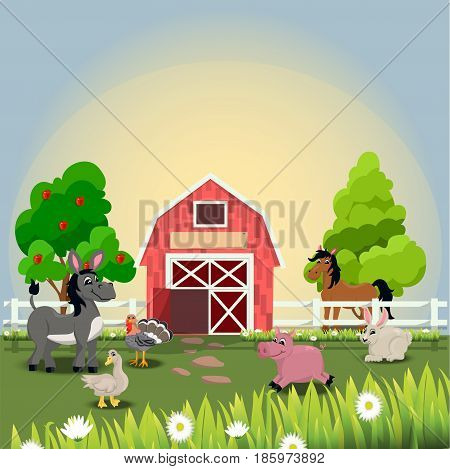 Very high quality original trendy vector illustration of happy and cheerful donkey, turkey, goose, horse, pig and rabbit