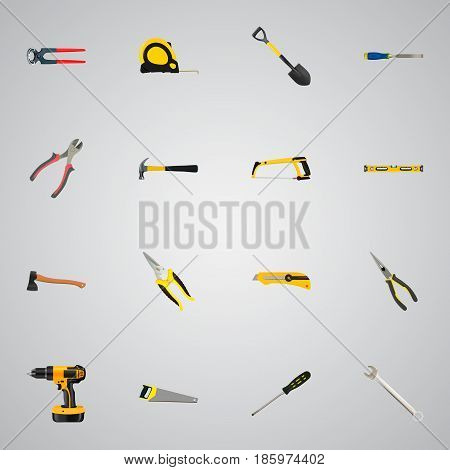 Realistic Carpenter, Stationery Knife, Scissors And Other Vector Elements. Set Of Construction Realistic Symbols Also Includes Saw, Sawmill, Chisel Objects.