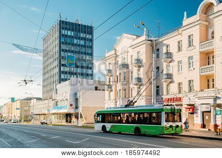 Gomel, Belarus - August 10, 2016: Public Trolleybus Is At Bus Stop On Lenin Avenue Street In Sunny Summer Day In Gomel, Belarus