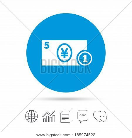 Cash sign icon. Yen Money symbol. JPY Coin and paper money. Copy files, chat speech bubble and chart web icons. Vector