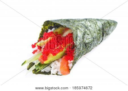 Hand Roll With Salmon, Cream Sauce, Flying Fish Roe, Avocado And Cucumber