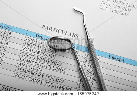 Dental equipment on papers