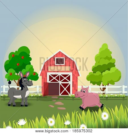 Very high quality original trendy vector illustration of happy and cheerful donkey and a pig on farm with fruit trees and chamomiles, farm animal