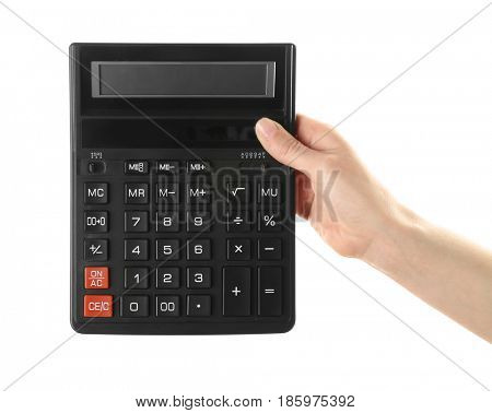 Female hand holding calculator on white background