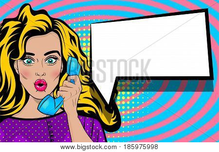 Beautiful sexy lips pin up. Positive surprise pop art blonde woman talk hand holding retro phone. Comic book halftone background. Vector dot illustration. Empty speech bubble text advertisement.