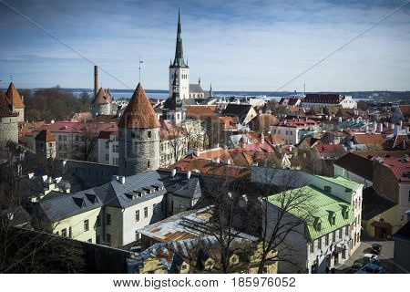 Towers and spires in the medieval old town of Tallinn
