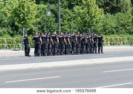 BERLIN - JUNE 19 2013: Police cordon near the Brandenburg gate because of state visit to Germany by U.S. President Barack Obama