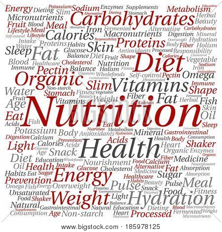 Concept or conceptual nutrition health diet square word cloud isolated background. Collage of carbohydrates, vitamins, fat, weight, energy, antioxidants beauty medicine, mineral, protein text