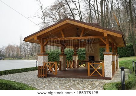 Big wooden alcove outdoors