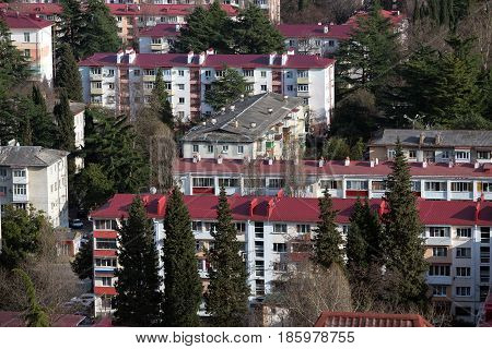 Old five-story apartment buildings in Sochi, Russia