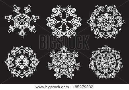 Ethnic Fractal Mandala Vector Meditation looks like Snowflake or Maya Aztec Pattern or Flower too Isolated on White