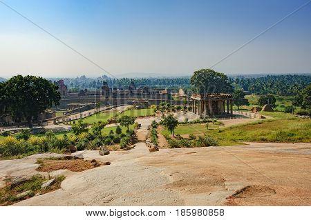Ruins of Hampi a UNESCO World Heritage Site, India. Ganesh statue in Sasivekalu Ganesha the ancient temple of Hampi, Karnataka, India.