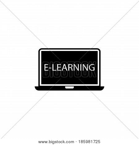 E-learning solid icon, Education and school element, laptop and online education vector graphics, a filled pattern on a white background, eps 10.