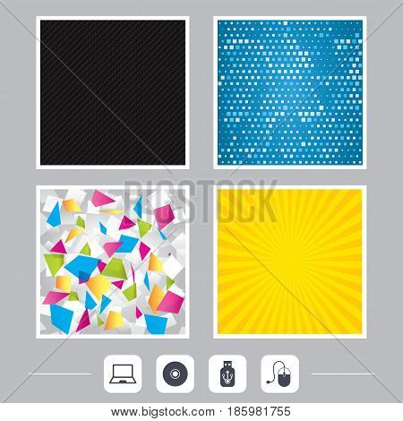 Carbon fiber texture. Yellow flare and abstract backgrounds. Notebook pc and Usb flash drive stick icons. Computer mouse and CD or DVD sign symbols. Flat design web icons. Vector