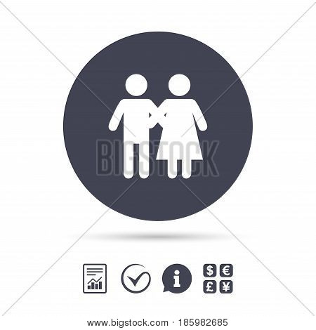 Couple icon. Young family symbol. Family insurance. Report document, information and check tick icons. Currency exchange. Vector