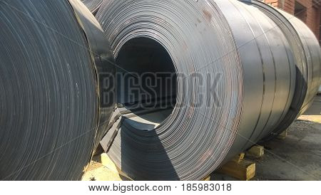 Steel Sheets Rolled Up Into Rolls. Export Steel. Packing Of Steel For Transportation