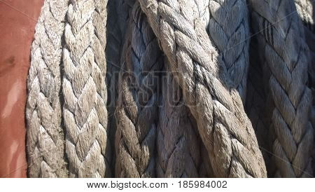 Port Rope. Mooring Rope. Rope For Fastening Ships And Cargo