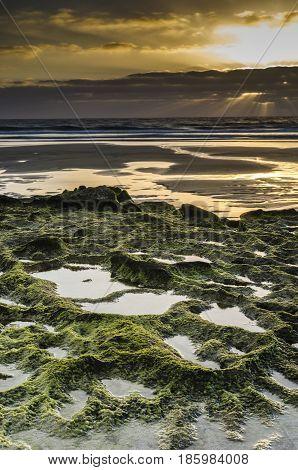 Beautiful Sunset In Green Rocky Beach, El Cotillo, Fuerteventura, Canary Islands, Spain