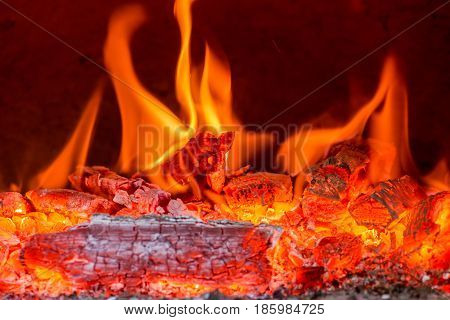Fire in a furnace - selective focus, copy space