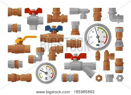 Sanitary engineering, plumbing equipment set icons. Manometer pressure, industry, fittings, water supply concept