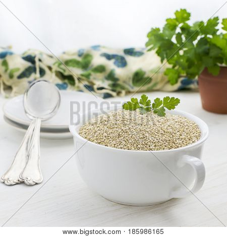 raw quinoa in a white porcelain bowl with green colour in the back ground whit space made at the top of the image for copy space