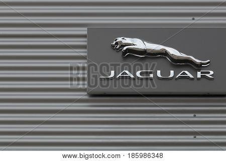Kolding, Denmark - May 29, 2016: Jaguar cars is a brand of Jaguar Land Rover a British multinational car manufacturer headquartered in Whitley, Coventry, England, owned byTata Motors since 2008