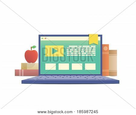 E-learning With Laptop, Learning Through An Online Network. With Many Book Background Illustration V