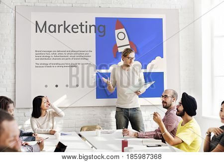 Workers working on network graphic overlay whiteboard
