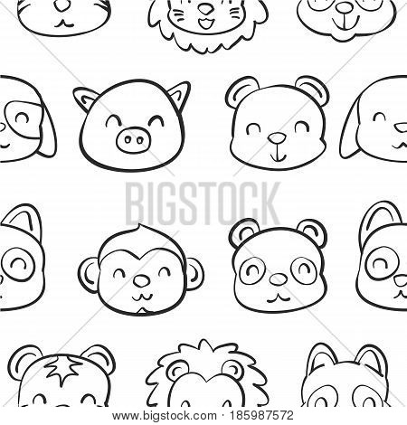 Collection stock of animal doodle hand draw vector art