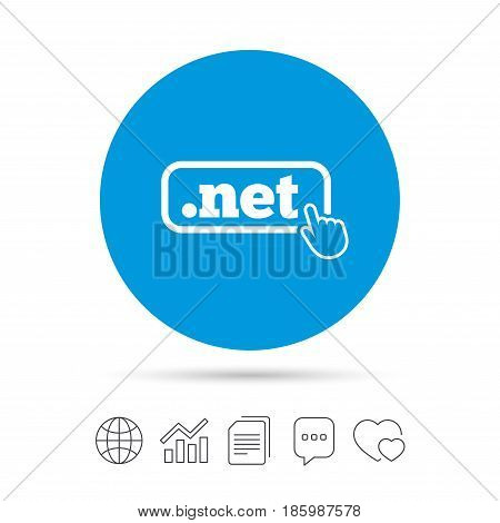 Domain NET sign icon. Top-level internet domain symbol with hand pointer. Copy files, chat speech bubble and chart web icons. Vector