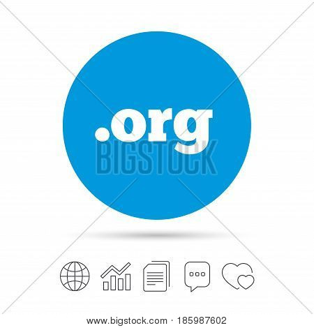 Domain ORG sign icon. Top-level internet domain symbol. Copy files, chat speech bubble and chart web icons. Vector